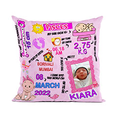Baby Girl Personalised Cushion