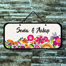 Flowers Name Plate