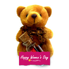 Womens Day Teddy With Message In A Bottle