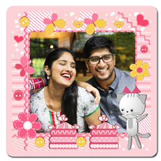 Happy Pink Flowers Magnet
