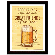 Great Friends Offer Beer Framed Print