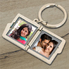 Personalised Double Frame Photo Keychain