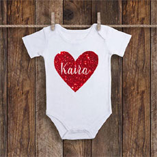 Glitter Heart Personalised Onesie