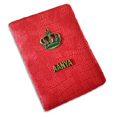 Crown Red Personalised Passport Case