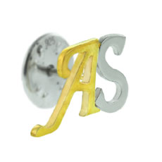 Sterling Silver Initials Coat Pin