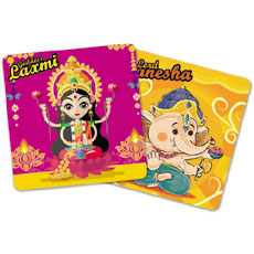 Cute Laxmi Ganesha Magnets Set